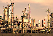 An oil refinery in the port of Yokkaichi. (Note, the colours were adjusted for dramatic effect)