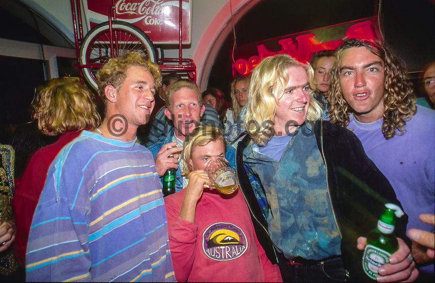 Rock Food cafe in Hossegor France. Sunny Abberton (AUS) Stephen 'Belly' Bell (AUS). Damien Warr (AUS), Mark Phipps (AUS) and Dicky Badger (AUS) out at the Rock Food cafe during the Rip Curl Pro Hossegor in the South West region of France. circa 1992 Photo: joliphotos.com