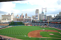 "View of downtown Detroit looking out from Comerica Park just after ""Kids on the Field"" day."