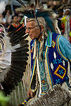Inter-tribal Dancing at  the Thunderbird Pow Wow in Queens New York.<br /> <br /> Richard (Duke of Sandyhook) Simmons, Seneca and Iroquois Native American, dressed in Northern traditional regal.  <br /> <br /> Duke is a living example of the celebration of Native American ethnic pride, culture and heritage, and its traditional folk art crafts. <br /> <br /> Release # 2508