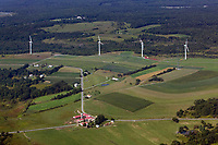 aerial view above wind turbines farm land Pennsylvania