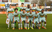 20170314 - UDEN , NETHERLANDS : Belgian team pictured during the UEFA Under 17 Elite round game between The Netherlands U17 and Belgium U17, on the first matchday in group 5 of the Uefa Under 17 elite round in The Netherlands , tuesday 14 th March 2017 . PHOTO SPORTPIX.BE | DIRK VUYLSTEKE