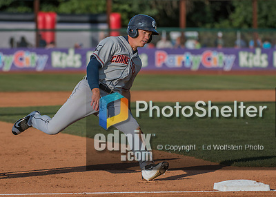 31 July 2016: Connecticut Tigers outfielder Joey Havrilak in action against the Vermont Lake Monsters at Centennial Field in Burlington, Vermont. The Lake Monsters edged out the Tigers 4-3 in NY Penn League action.  Mandatory Credit: Ed Wolfstein Photo *** RAW (NEF) Image File Available ***