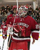 Gavin Bayreuther (SLU - 7), Kyle Hayton (SLU - 27) - The Harvard University Crimson defeated the St. Lawrence University Saints 6-3 (EN) to clinch the ECAC playoffs first seed and a share in the regular season championship on senior night, Saturday, February 25, 2017, at Bright-Landry Hockey Center in Boston, Massachusetts.
