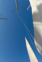 Boat sails against clear sky, view from below (Licence this image exclusively with Getty: http://www.gettyimages.com/detail/74583306 )