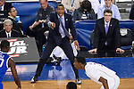 07 APR 2014: Coach Kevin Ollie of the University of Connecticut yells to his team against the University of Kentucky during the 2014 NCAA Men's DI Basketball Final Four Championship at AT&T Stadium in Arlington, TX.  Connecticut defeated Kentucky 60-54 to win the national title. Brett Wilhelm/NCAA Photos