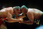 Aleksander Karelin, left (Russia)- gold vs. Matt Ghaffari (USA) - silver, super-heavyweight Greco-Roman final, Summer Olympics, Atlanta, Georgia, USA, July 1996
