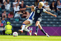 Glasgow, Scotland - July 25, 2012: Megan Rapinoe of the US women's national team during USA's 4-2 win over France.