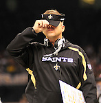 """FILE-- According to an NFL investigation, from 2009 to 2011 the New Orleans Saints created an unseemly bounty system that rewarded defensive players for injuring opponents. The program, administered by Saints defensive coordinator Gregg Williams, financed by Saints players and strictly forbidden by the NFL, offered $1,000 for a hit that forced a player to be carted off to the sideline and $1,500 for one that knocked a player out of the game©SuziAltmanPictured is New Orleans Saints head coach Sean Payton covering his face with his visor. Greg Williams, Defensive Coordiantor for the New Orleans Saintshas been suspended indefiently from the NFL  because of his """"bounty system"""" he had in place while coaching for the Saints during the 2009,2010 & 2011 NFL seasons. Coach Sean Payton was suspended for one year and General manager Micky Loomis was suspended for 8 games for thier roles in the """"Bounty scandal"""". File Photo of Defensive coach Greg Willams and coach Sean Payton coaching during the Saints pre season game against the San Diego Chargers Friday Aug 27,2010. The San Diego charges cut Drew Brees a few years ago, allowing him to be picked up by the Saints as a free agent. The Saints won 36-21 at half time.Photo© Suzi AltmanNew Orleans Saints head coach Sean Payton speaks to the media after beating the Atlanta Falcons and going 7-0.  fans celebrate after beating the Atlanta Falcons in the SuperDome 35-17. New Orleans Saints TE  Jermey Shockey (88) grtabs the ball for a reception and a first down during the game against the Atlanta Falcons in the first half of a NFL football game in the SuperDome in Louisiana, Monday, Nov.2, 2009. The saints went on to win 35 to 27 and remain undefeated in te NFC South. Photos©SuziAltman/SuziSnaps.com.NFL Saints Cowboys Saturday Dec. 19, 2009 in New Orleans Louisiana at. Saints lost to the Cowboys 24-17 and the Saints are now 13-1.Photo©Suzi Altman/Suzisnaps.com"""