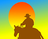 Cowboy riding into the sunset fine art print