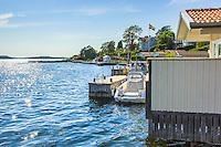 Sjöbod och brygga på Dalarö i Stockholms skärgård