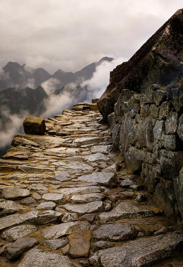 MACHU PICCHU, PERU - CIRCA OCTOBER 2015:  Path in  Machu Picchu in Peru