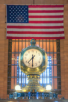 The clock on top of the information booth in Grand Central Terminal, in New York City.  The clock, a famous meeting place, was manufactured by Seth Thomas.