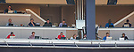 7 August 2016: Member of the baseball media watch a game from the Press Box between the San Francisco Giants and the Washington Nationals at Nationals Park in Washington, DC. The Nationals shut out the Giants 1-0 to take the rubber match of their 3-game series. Mandatory Credit: Ed Wolfstein Photo *** RAW (NEF) Image File Available ***