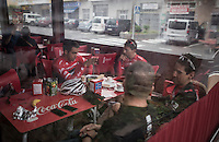 Coffee break at the Team Trek-Segafredo winter training camp with Alberto Contador in Tenerife<br /> <br /> january 2017, Tenerife/Spain