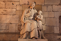 Statue of Saint Jean-Baptiste de la Salle, 1651- 1719, founder of the Christian Schools and patron saint of educators, who gave his first mass on 10th April 1678 here in the Chapelle du Saint-Sacrement or Chapel of the Holy Sacrament, Cathedrale Notre-Dame de Reims or Reims Cathedral, Reims, Champagne-Ardenne, France. The cathedral was built 1211-75 in French Gothic style with work continuing into the 14th century, and was listed as a UNESCO World Heritage Site in 1991. Picture by Manuel Cohen