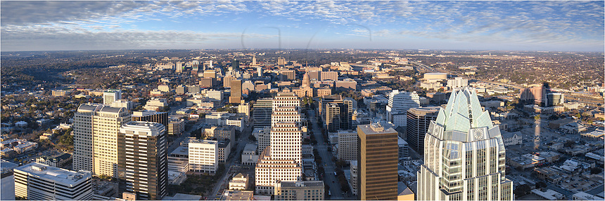 From the Austinonian, you can see a long way. This easterly view looks down at the Frost Bank (right) and I-35. Behind the Frost Tower is the Erwin Center, then to the left of that is DKR Stadium on the UT Campus. In the middle of the image is the Texas State Capitol, and behind that in the distance is the iconic UT Tower.