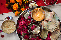 A detail of the altar after the puja (prayer and blessing) ceremony at the opening of the new Bill &amp; Melinda Gates Foundation office in New Delhi, India on 17th December 2010. Photo by Suzanne Lee for Gates Foundation