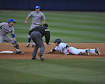 Ole Miss' Andrew Mistone (25) is safe at second vs. Memphis at Oxford-University Stadium in Oxford, Miss. on Tuesday, February 28, 2012. Ole Miss won 7-2.