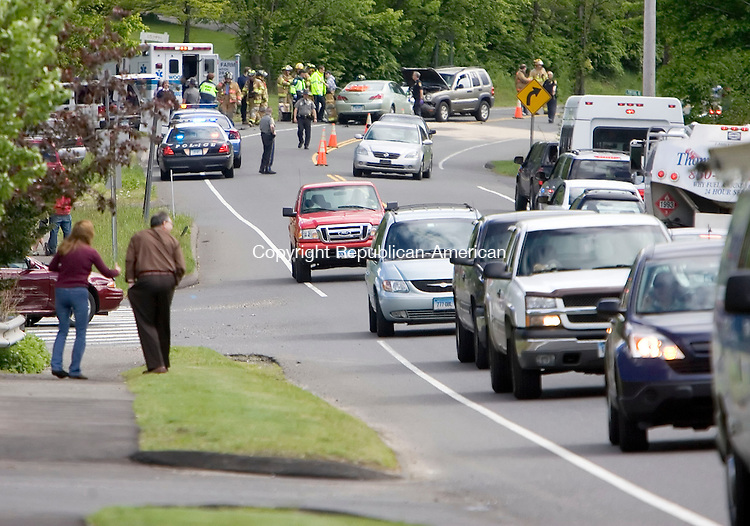 WOODBURY, CT- 22 MAY 2008- 052208JT02- <br /> Due to a head-on collision on Route 6 involving three vehicles, traffic in both lanes was backed up on Thursday afternoon in Woodbury.<br /> Josalee Thrift / Republican-American