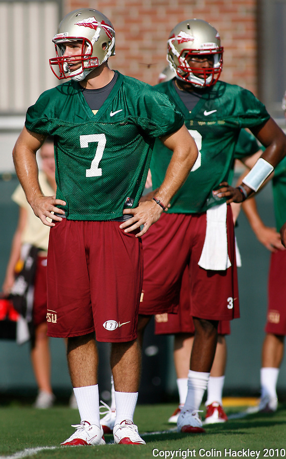 TALLAHASSEE, FL 8/5/10 FSU 080510 CH-Florida State quarterback Christian Ponder, left, and EJ Manuel during the first day of practice Thursday in Tallahassee. .COLIN HACKLEY PHOTO