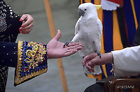 Pope Francis holds a parrot during a performance of the Golden Circus in the Paul VI Hall at the Vatican at the end of his weekly general audience Wednesday,  28, December.2016.