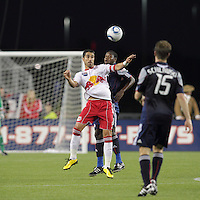 New York Red Bulls forward Juan Pablo Angel (9) traps the ball as New England Revolution midfielder Joseph Niouky (23) defends. The New England Revolution defeated the New York Red Bulls, 3-2, at Gillette Stadium on May 29, 2010.