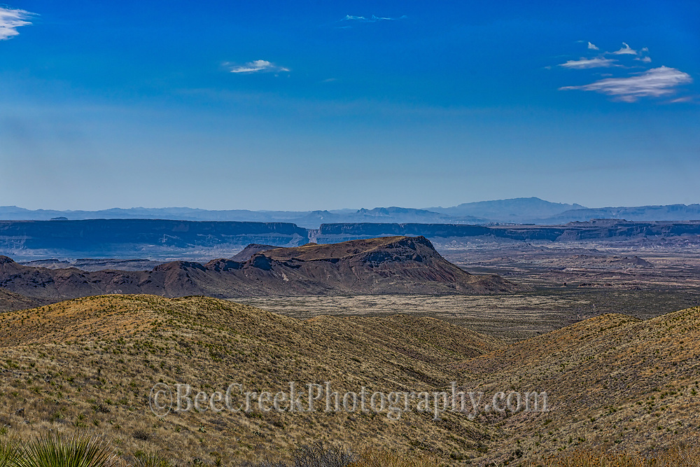 A distant view of the Santa Elena Canyon from about twenty miles away at the sotal overlook. Most days the haze prevent a clear view of the canyons.