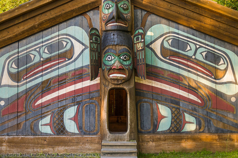 Clan house a the Totem Bight State Historical Site, Ketchikan, Alaska.