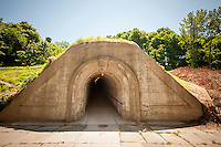 The historic Fort Totten Water Battery in Fort Totten in the Bayside neighborhood of Queens in New York on Sunday, June 15, 2014. Construction on the historic fort started in 1862 on Willet's Point overlooking the East River into Long Island Sound. The transport tunnel used to move munitions is 374 feet long and originally had a rail system.  (© Richard B. Levine)