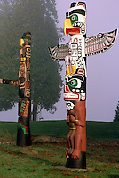 Kwakwaka'wakw (Kwakiutl) Totem Poles at Brockton Point in Stanley Park, Vancouver, BC, British Columbia, Canada, Foggy Day in Winter. Thunderbird sits atop Grizzly Bear (Totem Pole right); Thunderbird sits atop Killer Whale (Totem Pole left).