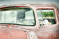 Faded Red Ford Truck - Arizona - Salt River/Pima Indian Reservation - cornfield