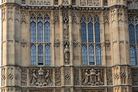 UK, England, London. Westminster Palace, Houses of Parliament, Stone Carvings of Figures and Heraldry.