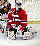 20 February 2009: University of Massachusetts Lowell River Hawks' goaltender Nevin Hamilton, a Junior from Ashland, MA, gives up a third period goal to the University of Vermont Catamounts at Gutterson Fieldhouse in Burlington, Vermont. The teams battled to a 3-3 tie. Mandatory Photo Credit: Ed Wolfstein Photo