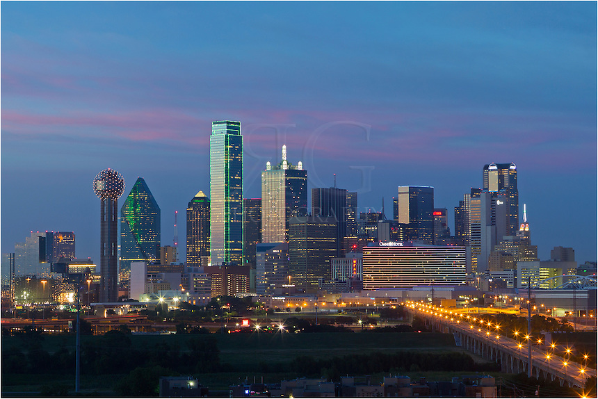 This Dallas Skyline Image was captured from just southwest of downtown. On the left of downtown stands the iconic Reunion Tower. Reunion Tower, which holds the 5th tallest observatory in the United States...In the middle of the image, outlined is green, is the tallest building in Dallas, the 72-story Bank of America Plaza. The Bank of America is the 22nd tallest building in the US and the 3rd tallest in Texas (at the time of this posting).<br />
