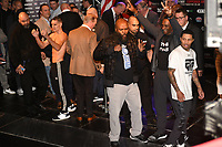 Liam Walsh and Gervonta Davis (R) on stage after Davis misses the weight during a Weigh-In at the Theatre Royal Stratford East on 19th May 2017