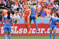 Houston, TX - Saturday April 15, 2017:  Denise O'Sullivan and Alyssa Mautz go up for a header during a regular season National Women's Soccer League (NWSL) match between the Houston Dash and the Chicago Red Stars at BBVA Compass Stadium.