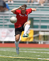 Aztec MA midfielder Maddie Bissaillon (13) volley pass. In a Women's Premier Soccer League (WPSL) match, Aztec MA defeated CFC Passion, 4-0, at North Reading High School Stadium on July 1, 2012.