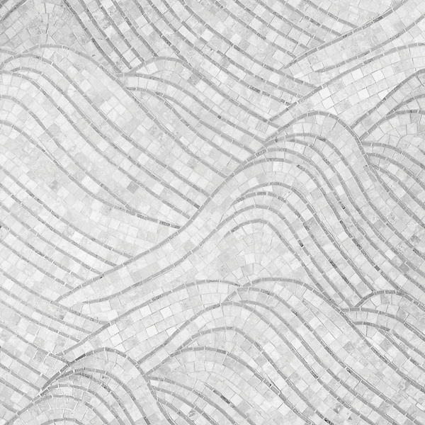 Nami, a natural stone hand cut mosaic shown in Carrara and honed Bardiglio, is part of the Silk Road Collection by Sara Baldwin for New Ravenna Mosaics. <br /> <br /> Take the next step: prices, samples and design help, http://www.newravenna.com/showrooms/