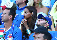 Fanny Neguesha, the fiancee of Mario Balotelli of Italy, nervously looks on from the stands