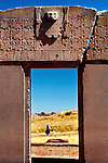 Gate of the Sun is an arch or gateway constructed by the Tiahuanaco or Tiwanaku Culture, and is a pre-Columbian, pre-Incan archaeological site in Bolivia.  The Staff God  sits atop the gate and is an important diety in past Andean culture.  The structure is constructed from a single piece of stone.  Some believe it to be some kind of calendar.