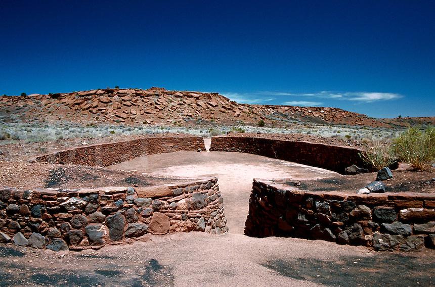 The exterior of a Sinagua Indian ball court. Wupatki National Monument, Arizona.