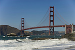 San Francisco: Baker Beach with Golden Gate Bridge in background.  Photo # 2-casanf83339.  Photo copyright Lee Foster