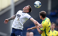Preston North End's Jordan Hugill jumps with Norwich City's Ryan Murphy<br /> <br /> Photographer Mick Walker/CameraSport<br /> <br /> The EFL Sky Bet Championship - Preston North End v Norwich City - Monday 17th April 2017 - Deepdale - Preston<br /> <br /> World Copyright &copy; 2017 CameraSport. All rights reserved. 43 Linden Ave. Countesthorpe. Leicester. England. LE8 5PG - Tel: +44 (0) 116 277 4147 - admin@camerasport.com - www.camerasport.com