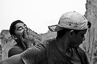 Gold seekers portrait at Agua Branca gold mining village, hard rock mining, Amazon rain forest, Para State, Brazil.