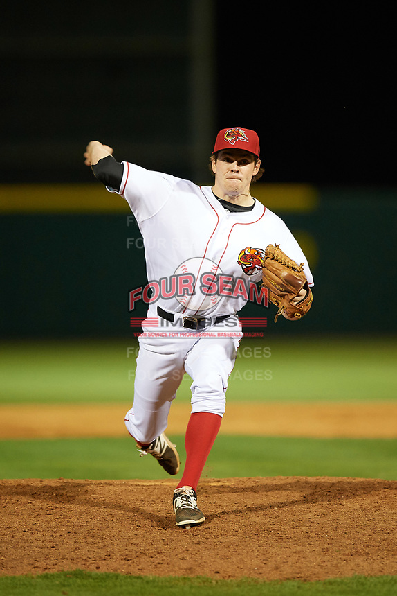 Florida Fire Frogs relief pitcher Sean McLaughlin (17) delivers a warmup pitch during the teams inaugural game against the Daytona Tortugas on April 6, 2017 at Osceola County Stadium in Kissimmee, Florida.  Daytona defeated Florida 3-1.  (Mike Janes/Four Seam Images)