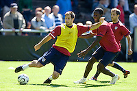 Carlos Bocenegra, left,  and  Eddie Johnson, right, during training in Hamburg, Germany, for the 2006 World Cup, June, 6, 2006.
