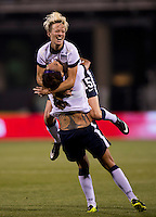 Sydney Leroux (2) of the USWNT celebrates her goal with teammate Megan Rapinoe (15)  during an international friendly at Crew Stadium in Columbus, OH. The USWNT tied New Zealand, 1-1.