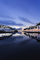 Looking out over Biscayne Bay a few minutes before sunrise. Charles Deering Estate at Cutler, Miami, Florida.