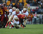 Lafayette High's Jamel Dennis (6) and Lafayette High's Alec Michael (7) vs. Laurel in the MHSAA Class 4A championship game at Mississippi Veterans Memorial Stadium in Jackson, Miss. on Saturday, December 3, 2011. Lafayette won 39-29, the team's 32 straight win, to capture their second consecutive state championship.
